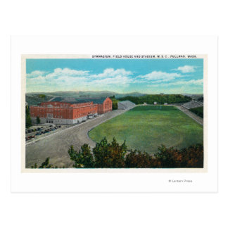 Aerial View of WA State College Gym and Postcard