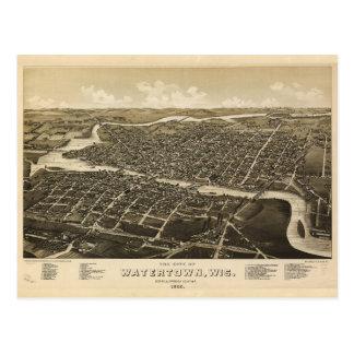 Aerial View of Watertown, Wisconsin (1885) Postcard