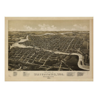 Aerial View of Watertown, Wisconsin (1885) Poster