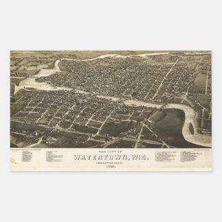 Aerial View of Watertown, Wisconsin (1885) Rectangular Sticker