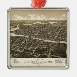 Aerial View of Watertown, Wisconsin (1885) Silver-Colored Square Decoration