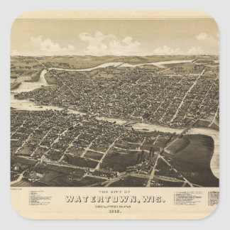 Aerial View of Watertown, Wisconsin (1885) Square Sticker