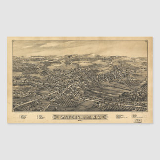 Aerial View of Waterville, New York (1885) Rectangular Sticker