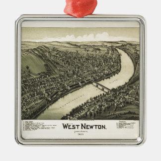Aerial View of West Newton, Pennsylvania (1900) Metal Ornament