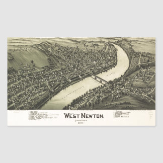 Aerial View of West Newton, Pennsylvania (1900) Rectangular Sticker