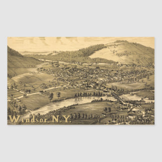 Aerial View of Windsor, New York (1887) Rectangular Sticker