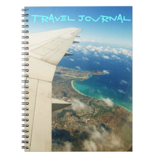 Aerial view over Hawaiian islands travel journal Spiral Note Book