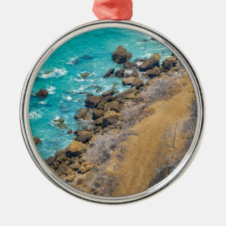 Aerial View Pacific Ocean Coastline Puerto Lopez E Metal Ornament