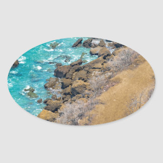 Aerial View Pacific Ocean Coastline Puerto Lopez E Oval Sticker