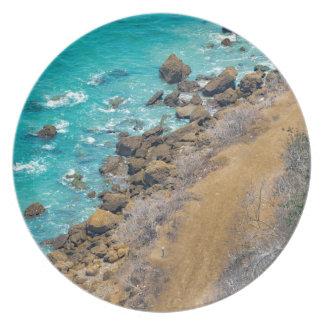Aerial View Pacific Ocean Coastline Puerto Lopez E Party Plates