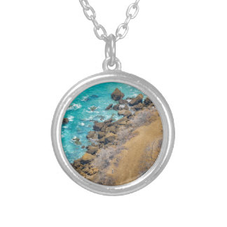 Aerial View Pacific Ocean Coastline Puerto Lopez E Silver Plated Necklace