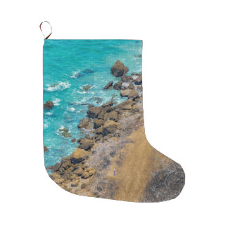 Aerial View Pacific Ocean Coastline Puerto Lopez Large Christmas Stocking