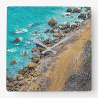 Aerial View Pacific Ocean Coastline Puerto Lopez Square Wall Clock
