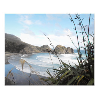 Aerial View to South Piha Beach New Zealand Photo Print