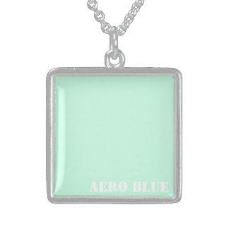 Aero blue square pendant necklace