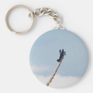 Aerobatic Biplane Basic Round Button Key Ring