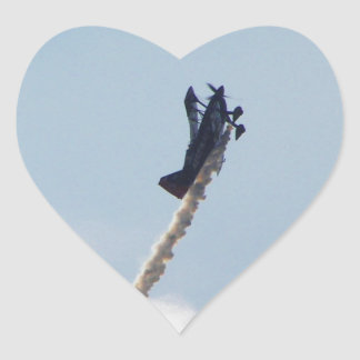 Aerobatic Biplane Heart Sticker