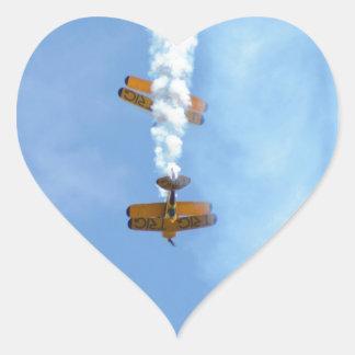 Aerobatic Biplanes Heart Sticker