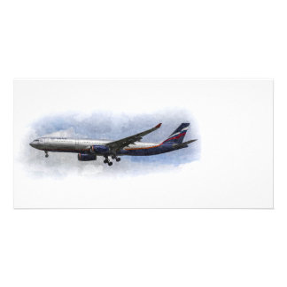 Aeroflot Airbus A330 Art Personalized Photo Card