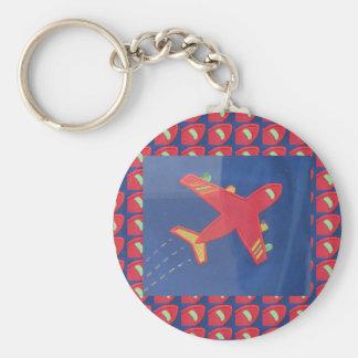 Aeroplane Avion Kids Children Fly Flight Basic Round Button Key Ring