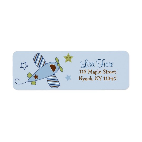 Aeroplane Baby Shower Address Labels