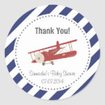 Aeroplane Baby Shower Thank You Sticker