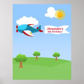 Aeroplane Banner Boy Birthday Poster