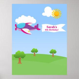 Aeroplane Banner Girl Birthday Poster
