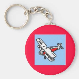 Aeroplane Basic Round Button Key Ring