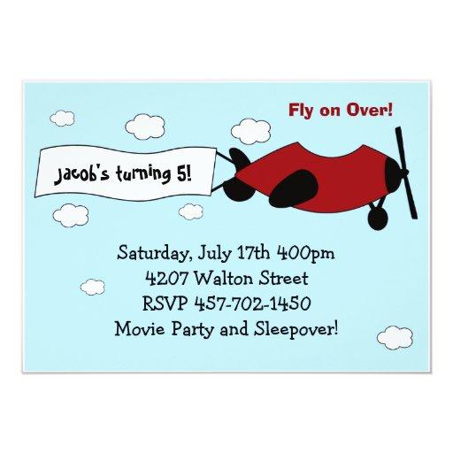 Aeroplane Birthday Party Invitation
