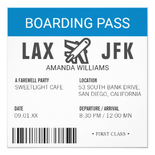 Aeroplane Boarding Pass Farewell Party Invitation