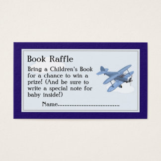 Aeroplane Book Raffle Tickets, Baby Shower Game Business Card