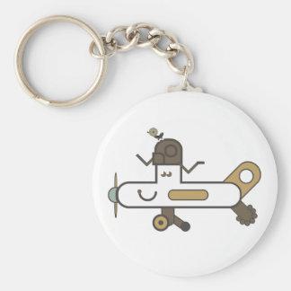 Aeroplane Button Key Ring Basic Round Button Key Ring