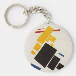 Aeroplane Flying by Kazimir Malevich Basic Round Button Key Ring