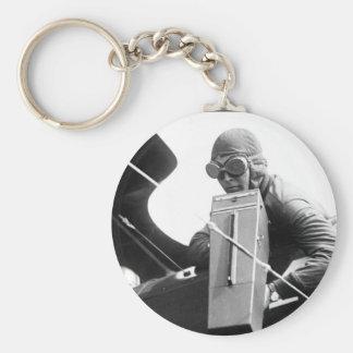 Aeroplane Graflex camera in_War image Basic Round Button Key Ring