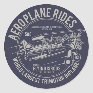 Aeroplane rides flying circus | Airplane Gifts Classic Round Sticker