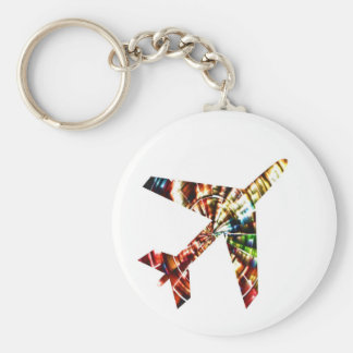 Aeroplane - Sparkling Red Cool Design Basic Round Button Key Ring