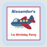 Aeroplane Square Favour Stickers (6 Large)