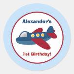 Aeroplane Town Round Custom Favour Sticker