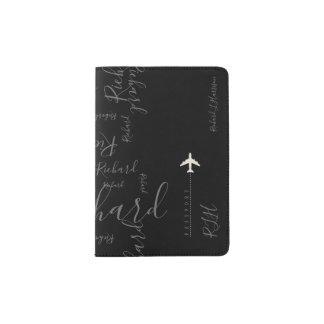 aeroplane travel handwritten name pattern on black passport holder