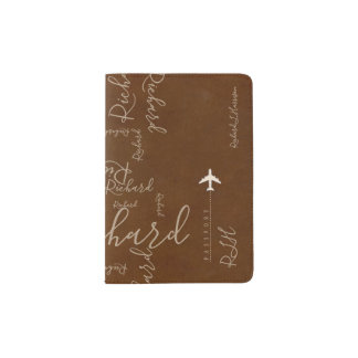 aeroplane travel handwritten name pattern on brown passport holder