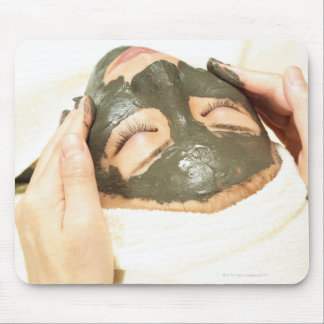 Aesthetician Who Rubs Mud Pack on Womans Face, Mouse Pad