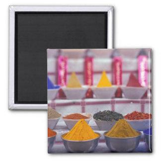 AF, Egypt, Aswan, Colorful spices in market. Square Magnet