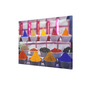 AF, Egypt, Aswan, Colorful spices in market. Stretched Canvas Print