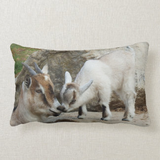 Affectionate Mother & Baby Goat Lumbar Cushion