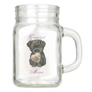 Affenpinscher Heart Mom Mason Jar