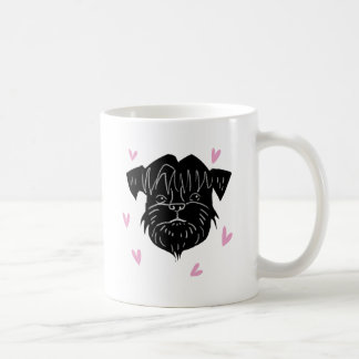 Affenpinscher portrait with hearts coffee mug