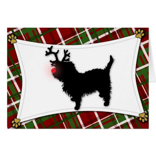 Affenpinscher Reindeer Christmas Card