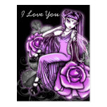 """Affinity"" Pink Rose Fairy Art Avery Postcard"