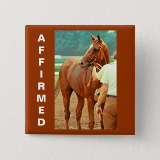 Affirmed Thoroughbred Racehorse 1978 15 Cm Square Badge